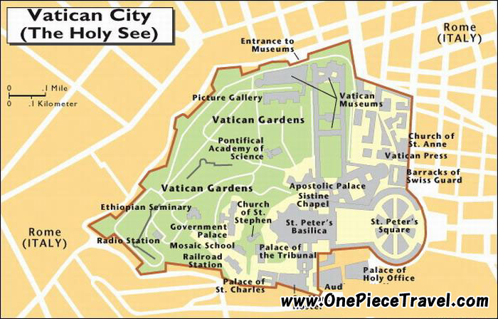 Vatican map, Vatican City State, Holy See