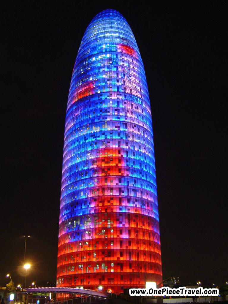 The Torre Agbar at night