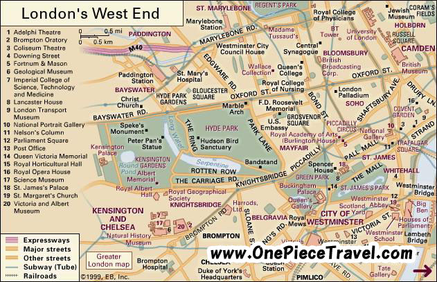 West End of London map